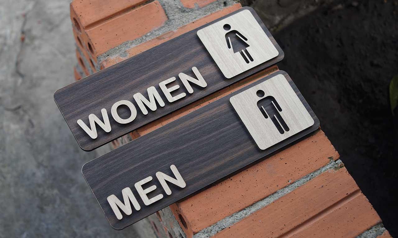 Bảng Toilet - Biển chỉ dẫn nhà vệ sinh WC Nam Nữ bằng Gỗ